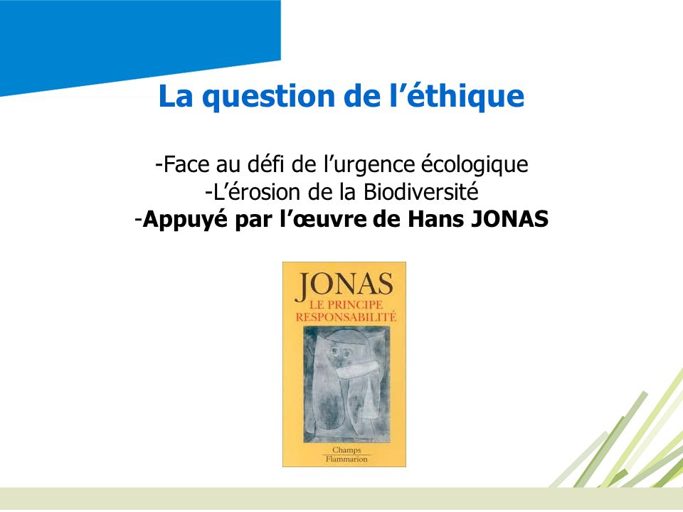 La question de l'éthique Appuyé par l'œuvre de Hans JONAS