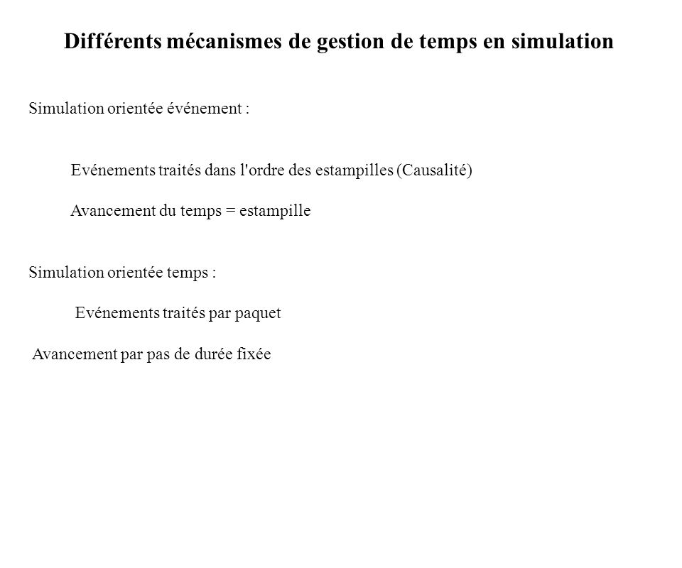 Différents mécanismes de gestion de temps en simulation