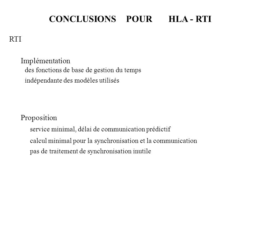CONCLUSIONS POUR HLA - RTI