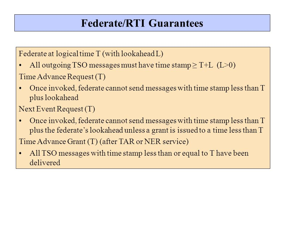 Federate/RTI Guarantees