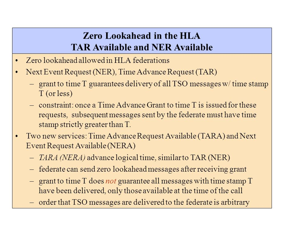 Zero Lookahead in the HLA TAR Available and NER Available