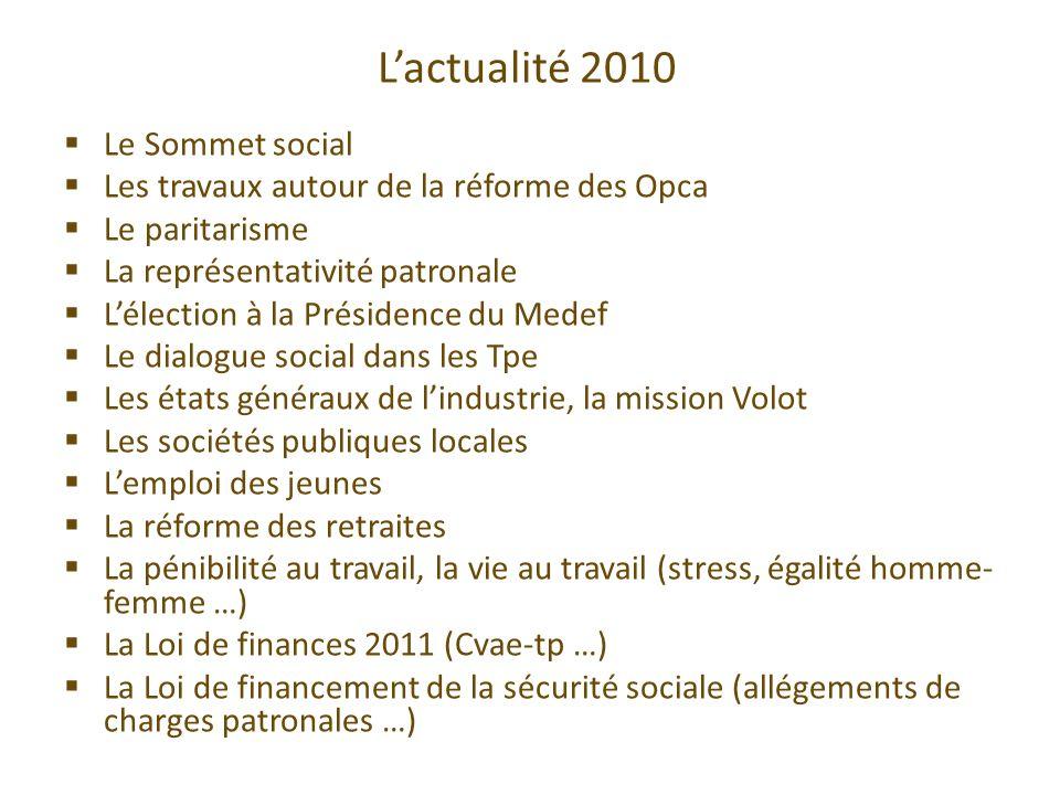 L'actualité 2010 Le Sommet social