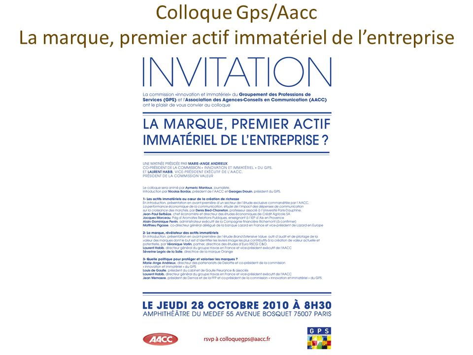 Colloque Gps/Aacc La marque, premier actif immatériel de l'entreprise