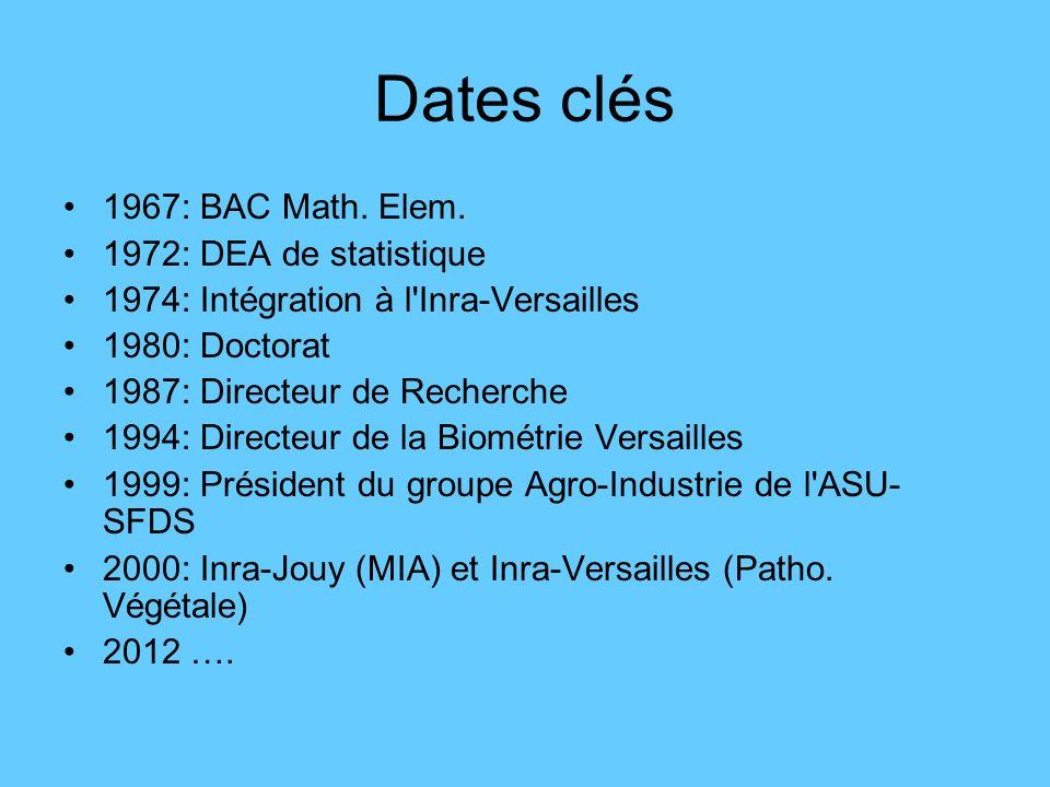 Dates clés 1967: BAC Math. Elem. 1972: DEA de statistique