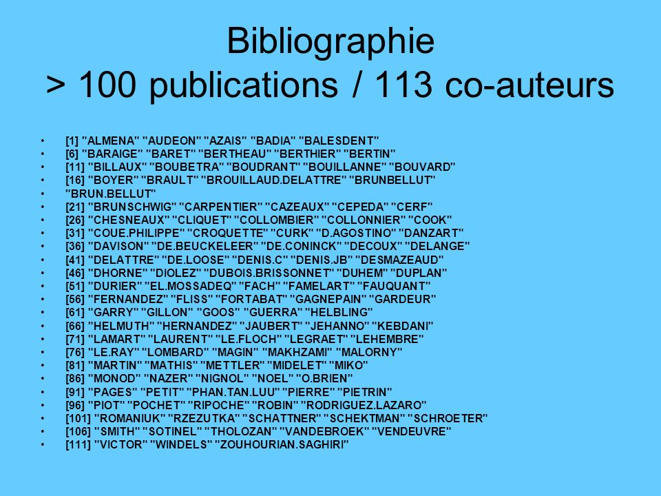 Bibliographie > 100 publications / 113 co-auteurs