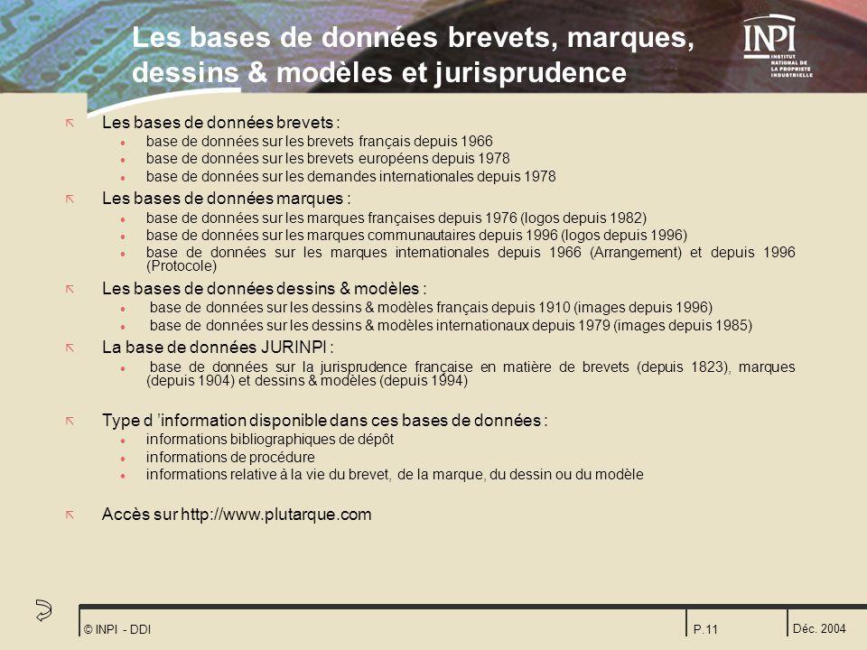 Les bases de données brevets, marques, dessins & modèles et jurisprudence