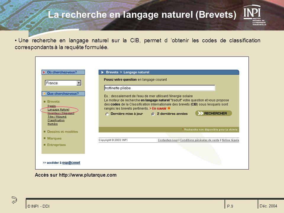 La recherche en langage naturel (Brevets)