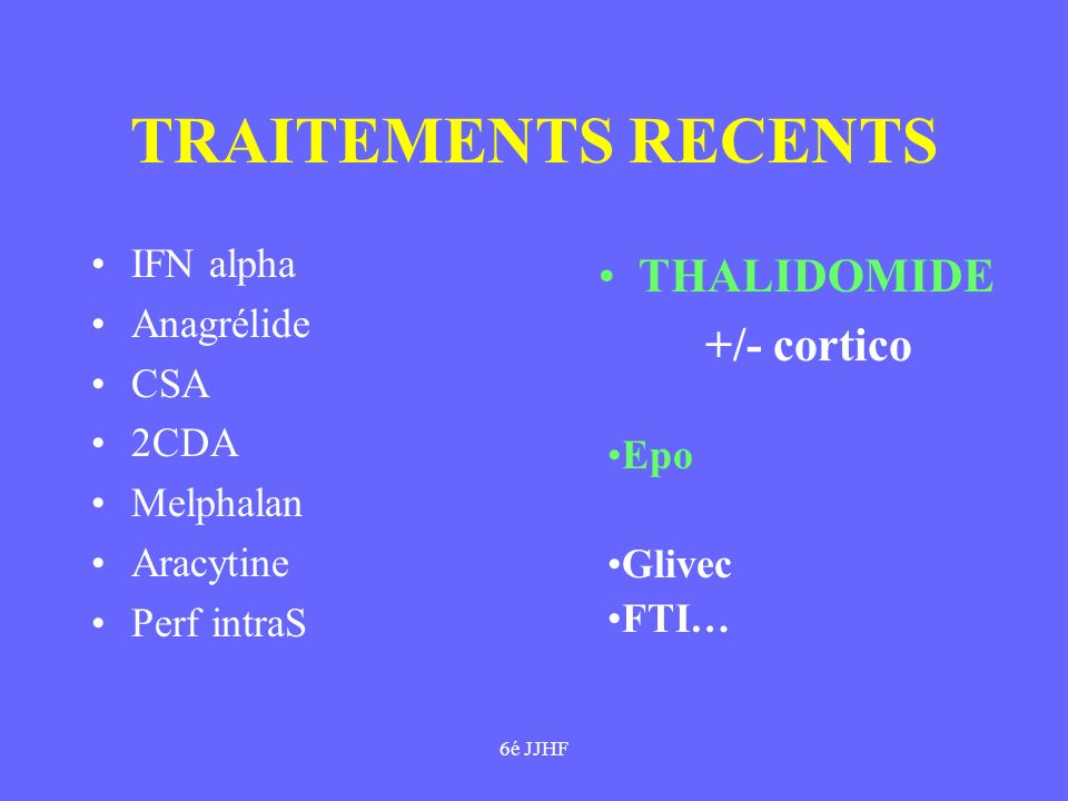 TRAITEMENTS RECENTS THALIDOMIDE +/- cortico IFN alpha Anagrélide CSA