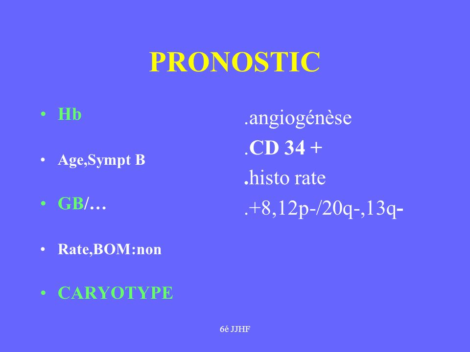 PRONOSTIC .angiogénèse .CD 34 + .histo rate .+8,12p-/20q-,13q- Hb GB/…
