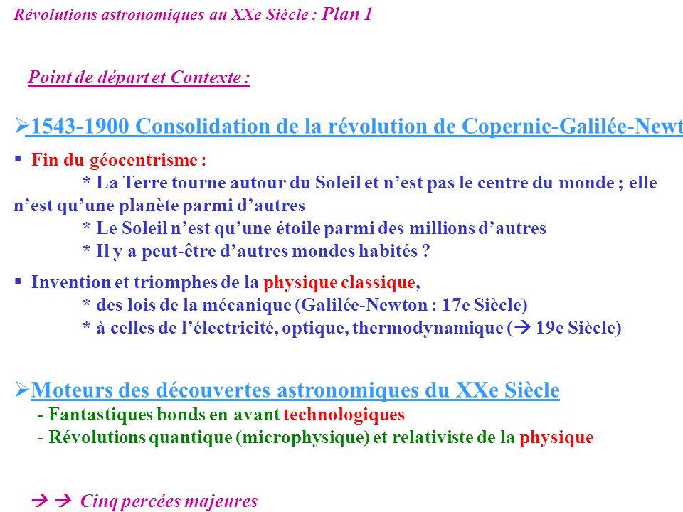 1543-1900 Consolidation de la révolution de Copernic-Galilée-Newton