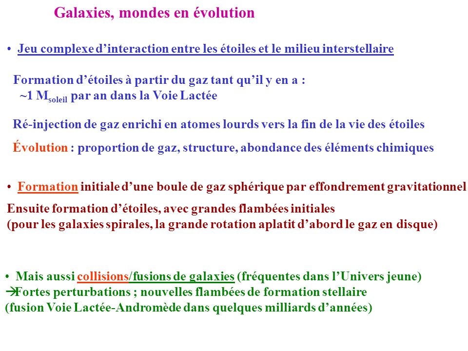 Galaxies, mondes en évolution