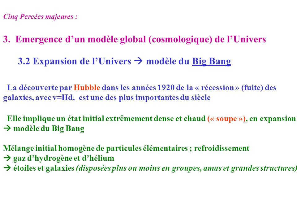 3. Emergence d'un modèle global (cosmologique) de l'Univers
