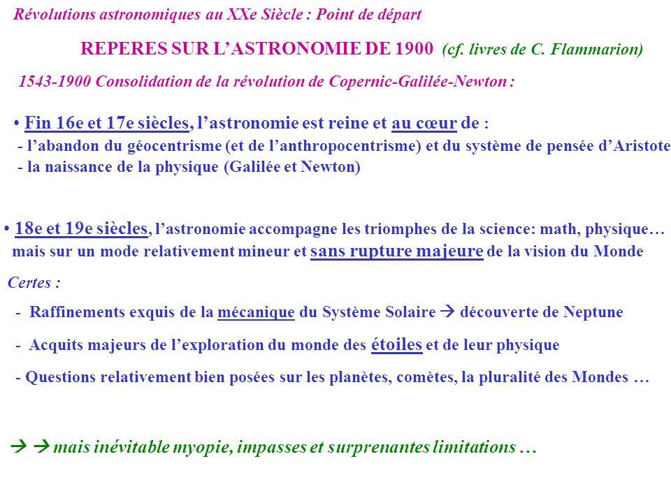REPERES SUR L'ASTRONOMIE DE 1900 (cf. livres de C. Flammarion)