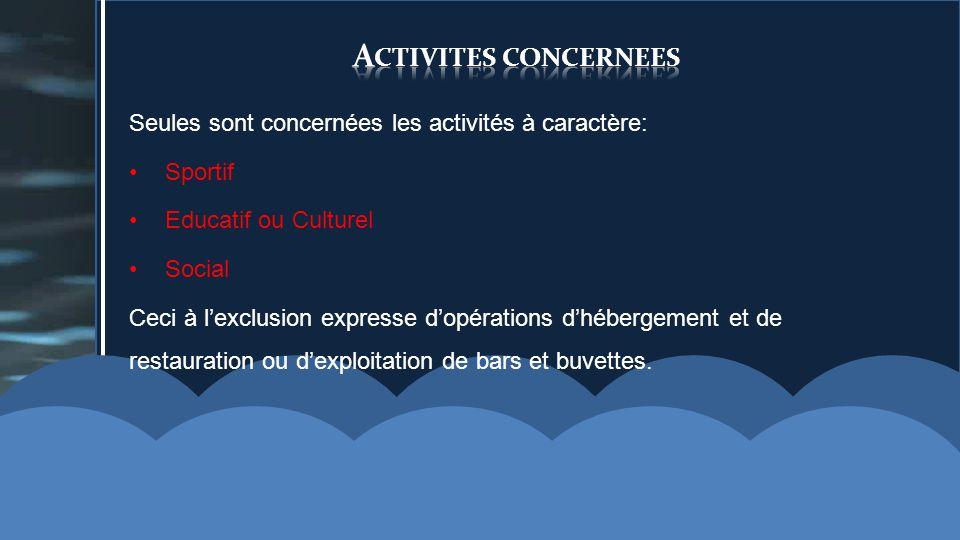 Activites concernees Seules sont concernées les activités à caractère: