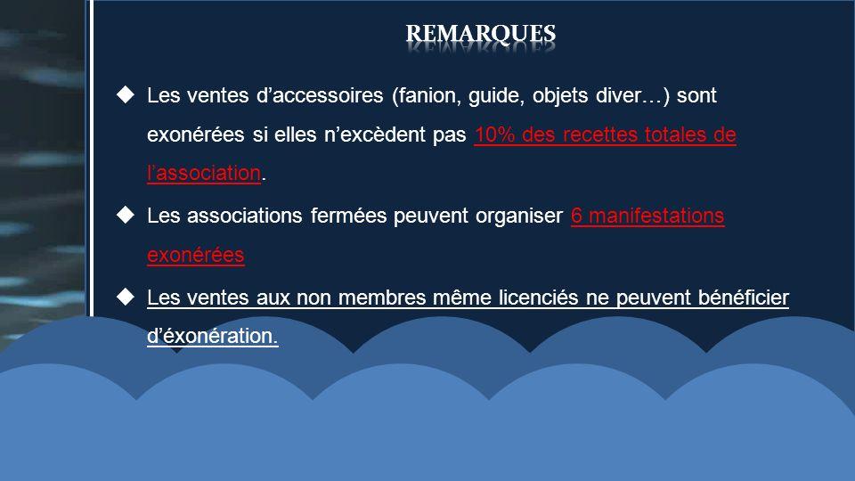 remarquesLes ventes d'accessoires (fanion, guide, objets diver…) sont exonérées si elles n'excèdent pas 10% des recettes totales de l'association.