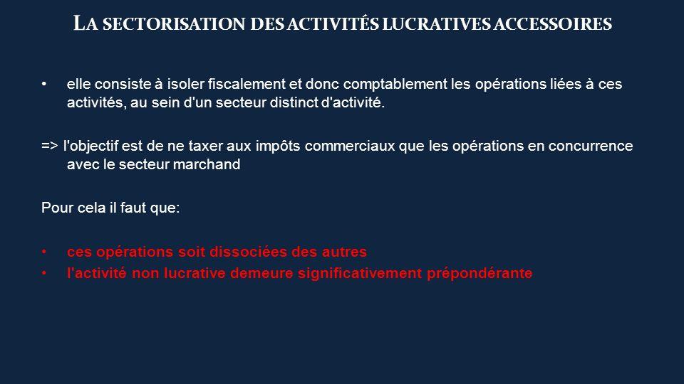 La sectorisation des activités lucratives accessoires