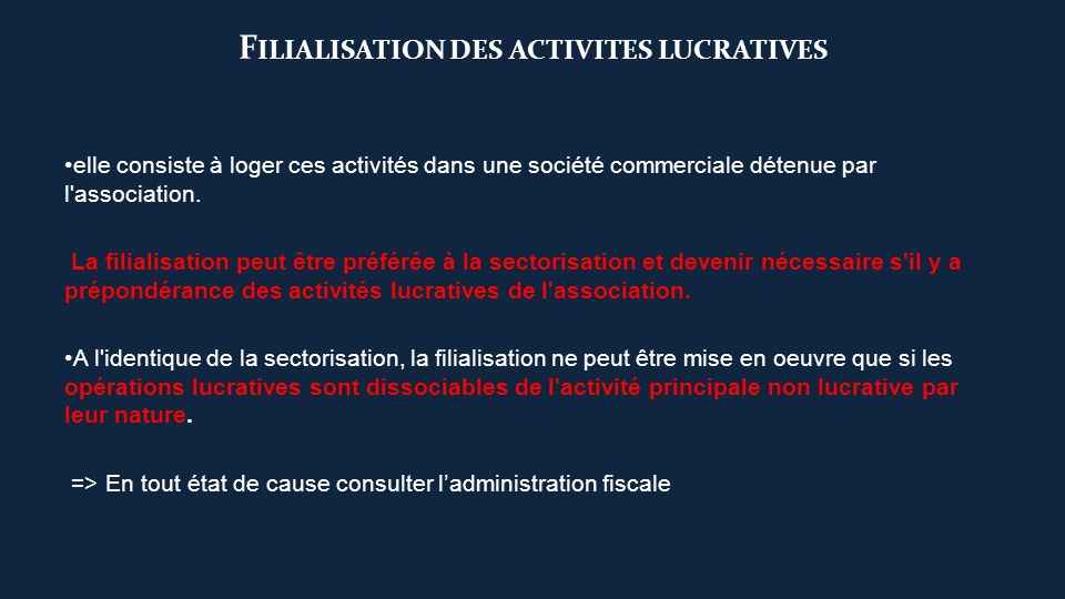 Filialisation des activites lucratives