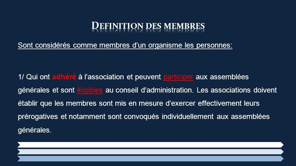 Definition des membres