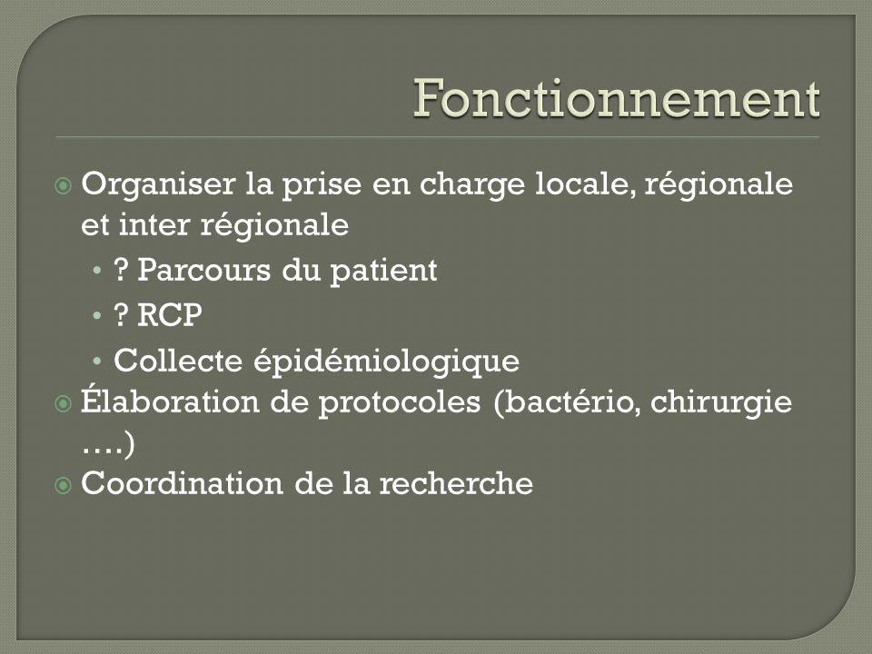 Fonctionnement Organiser la prise en charge locale, régionale et inter régionale. Parcours du patient.