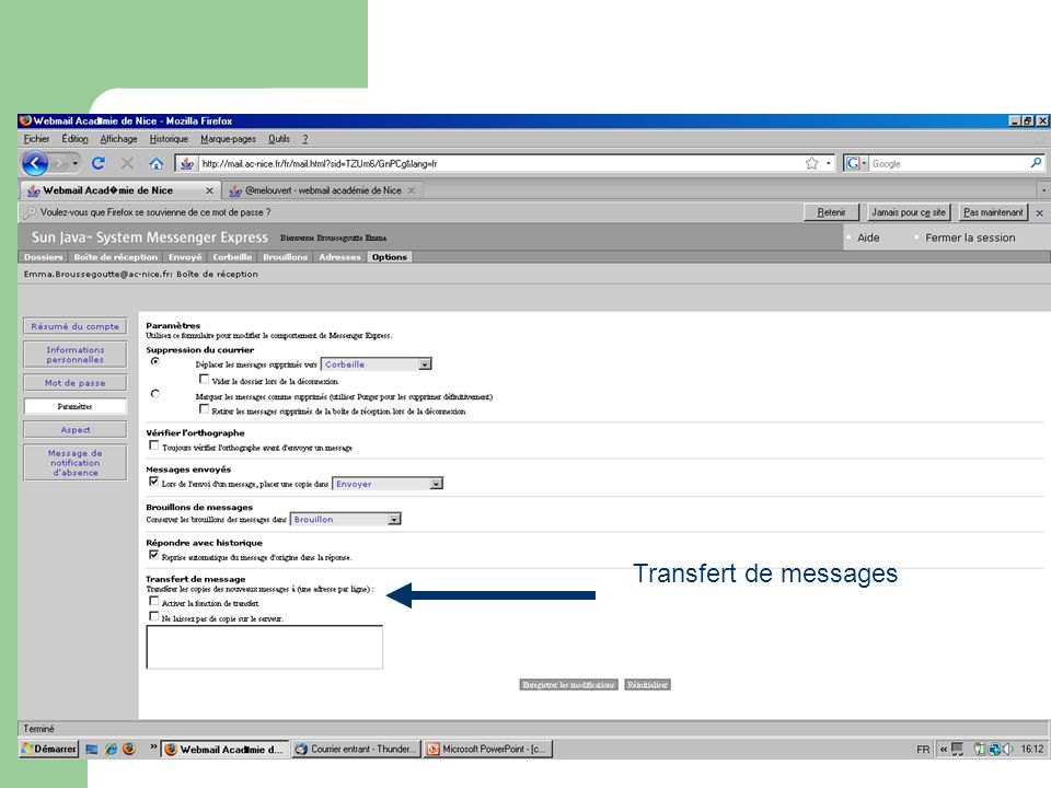 Transfert de messages