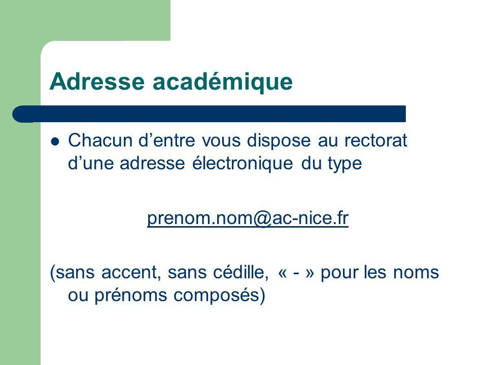 Adresse académiqueChacun d'entre vous dispose au rectorat d'une adresse électronique du type. prenom.nom@ac-nice.fr.