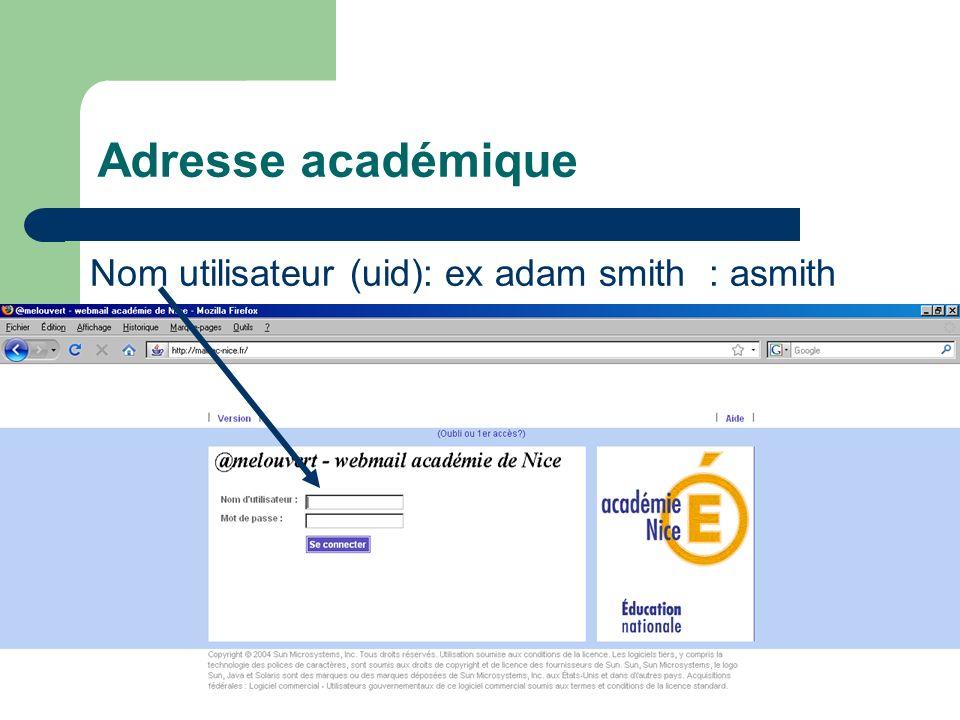 Adresse académique Nom utilisateur (uid): ex adam smith : asmith