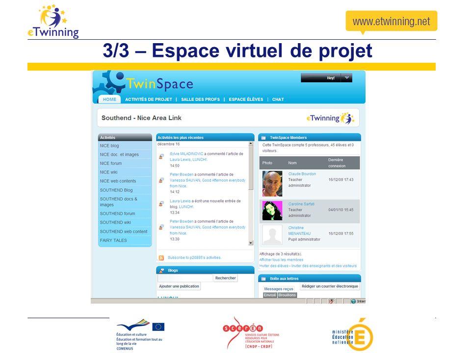 3/3 – Espace virtuel de projet
