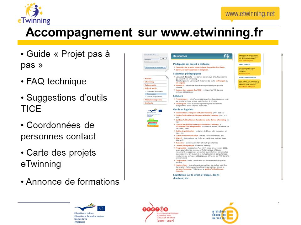 Accompagnement sur www.etwinning.fr