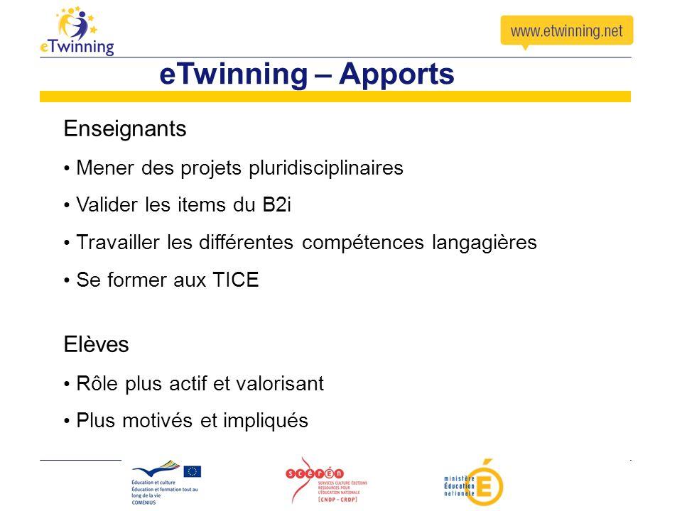 eTwinning – Apports Enseignants Elèves