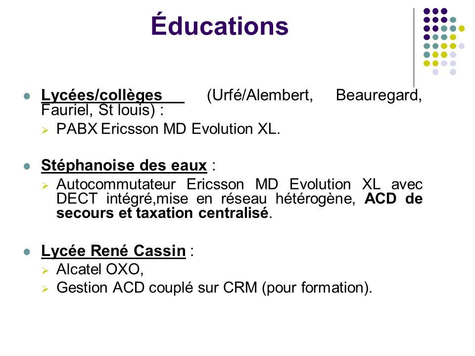Éducations Lycées/collèges (Urfé/Alembert, Beauregard, Fauriel, St louis) : PABX Ericsson MD Evolution XL.