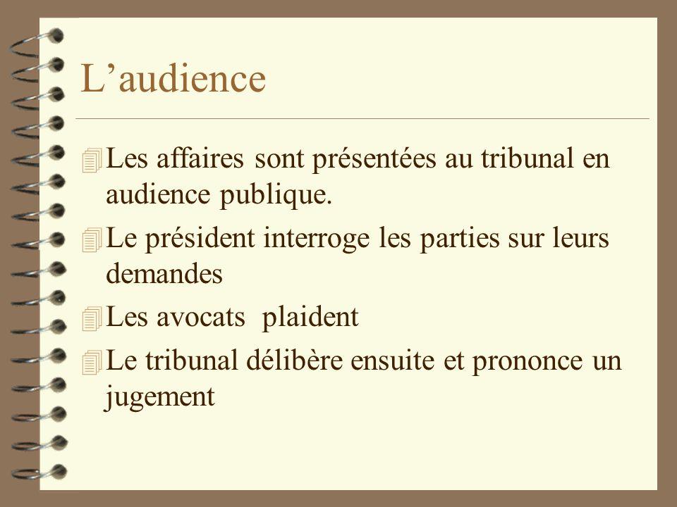 L'audience Les affaires sont présentées au tribunal en audience publique. Le président interroge les parties sur leurs demandes.