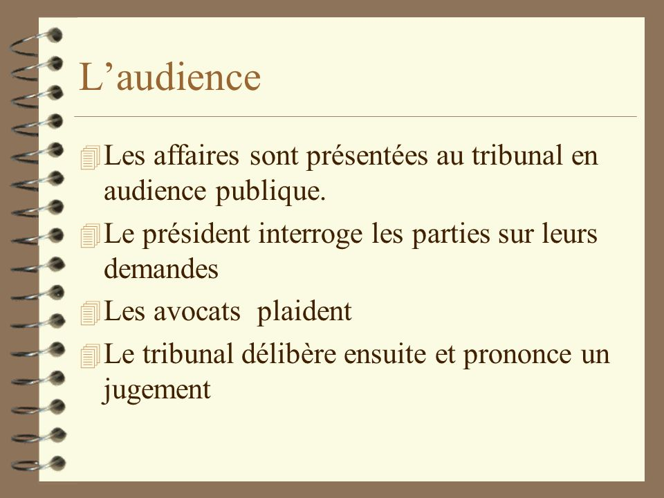 L'audienceLes affaires sont présentées au tribunal en audience publique. Le président interroge les parties sur leurs demandes.