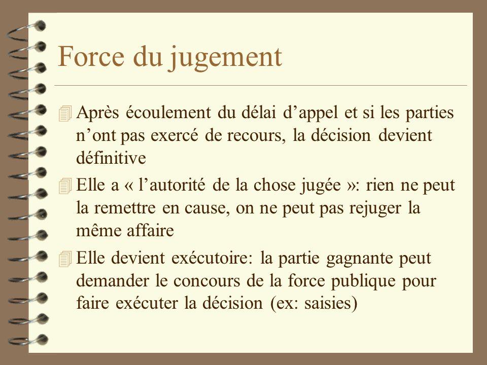 Force du jugementAprès écoulement du délai d'appel et si les parties n'ont pas exercé de recours, la décision devient définitive.