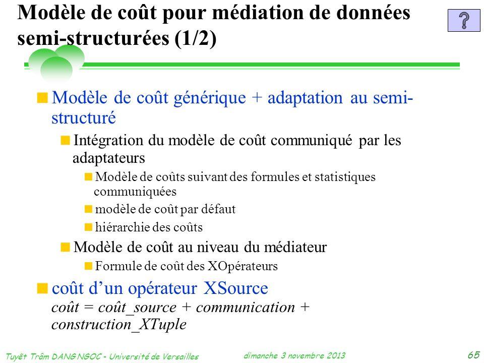 Modèle de coût pour médiation de données semi-structurées (1/2)