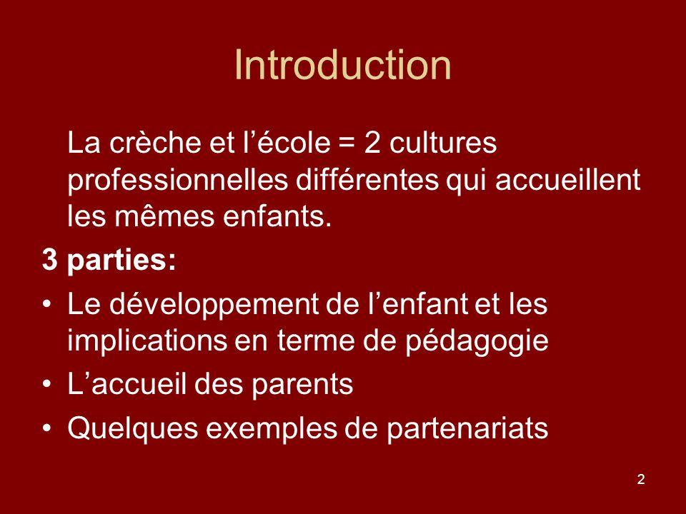 Introduction La crèche et l'école = 2 cultures professionnelles différentes qui accueillent les mêmes enfants.