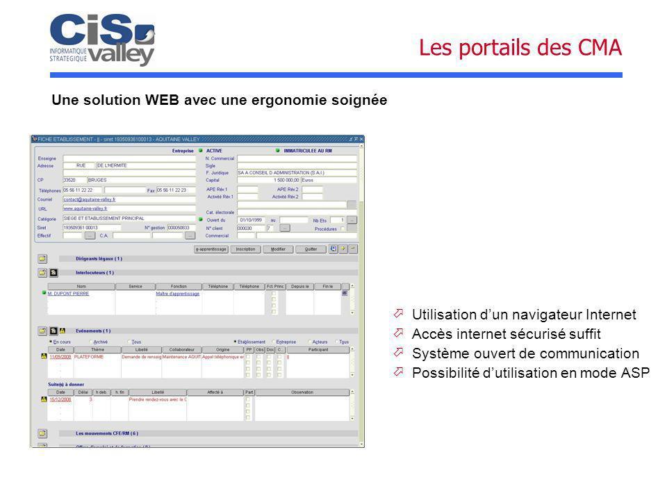Les portails des CMA Une solution WEB avec une ergonomie soignée