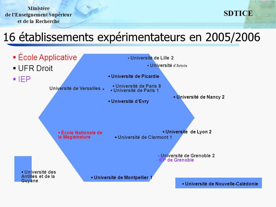 16 établissements expérimentateurs en 2005/2006