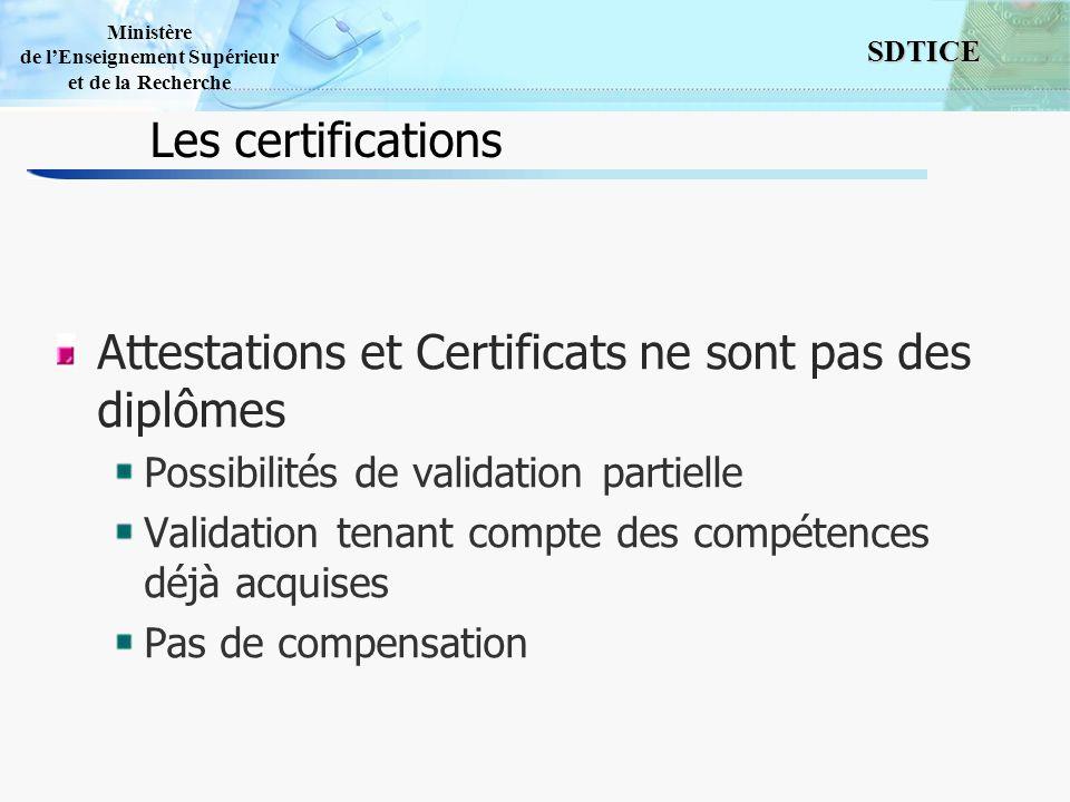 Attestations et Certificats ne sont pas des diplômes