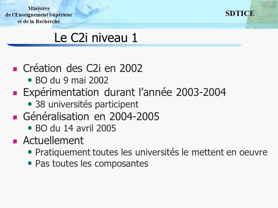 Le C2i niveau 1 Création des C2i en 2002
