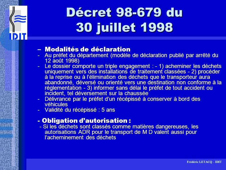 Décret 98-679 du 30 juillet 1998 Modalités de déclaration