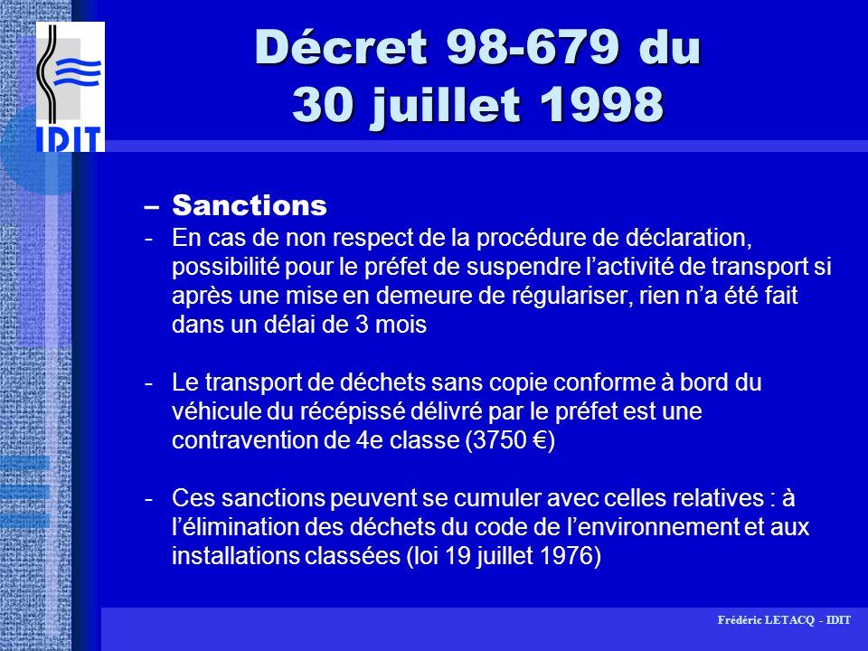 Décret 98-679 du 30 juillet 1998 Sanctions