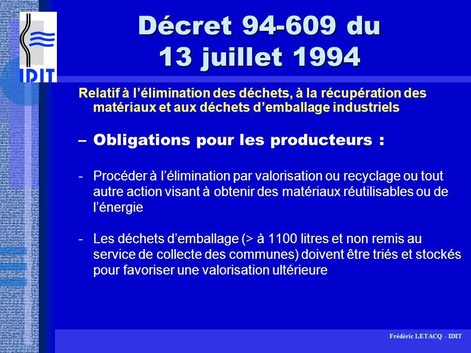 Décret 94-609 du 13 juillet 1994 Obligations pour les producteurs :