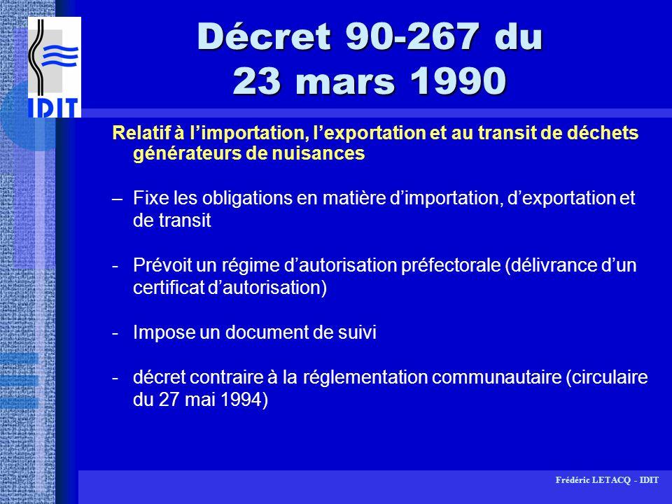 Décret 90-267 du 23 mars 1990Relatif à l'importation, l'exportation et au transit de déchets générateurs de nuisances.