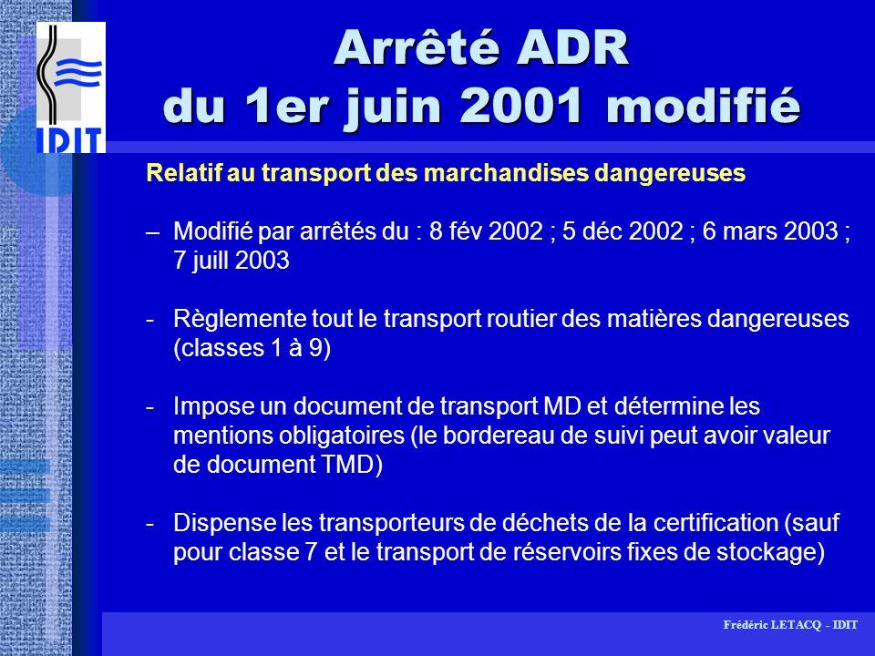 Arrêté ADR du 1er juin 2001 modifié