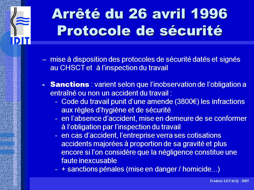 Arrêté du 26 avril 1996 Protocole de sécurité
