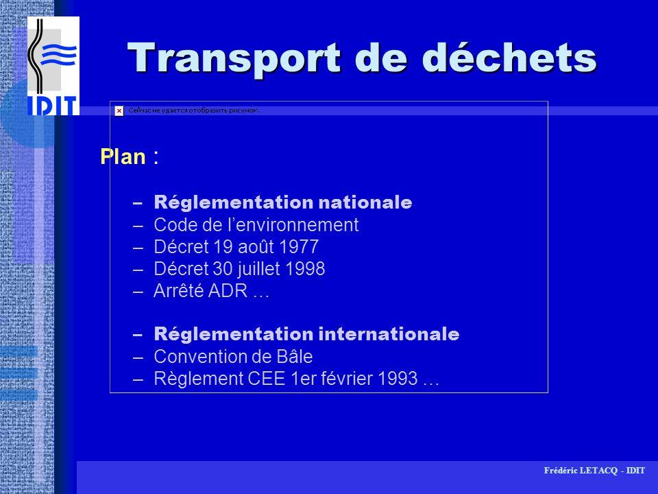 Transport de déchets Plan : Réglementation nationale