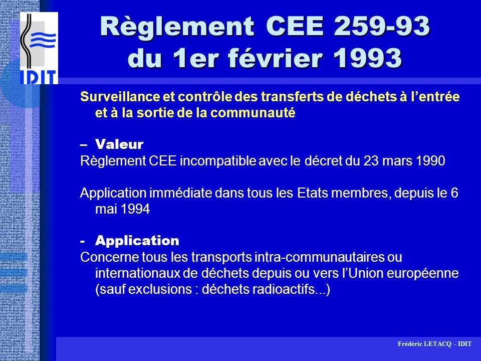 Règlement CEE 259-93 du 1er février 1993
