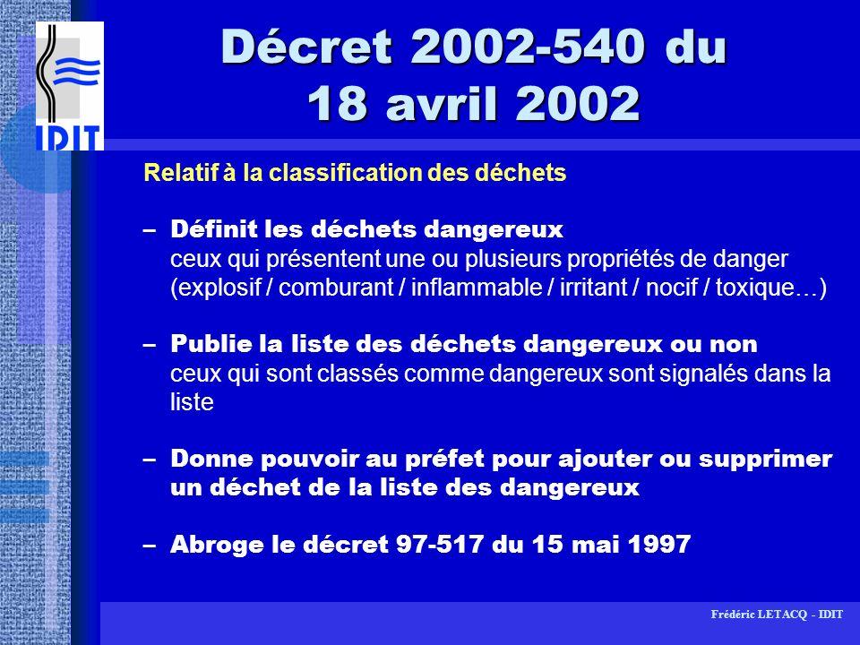 Décret 2002-540 du 18 avril 2002Relatif à la classification des déchets.