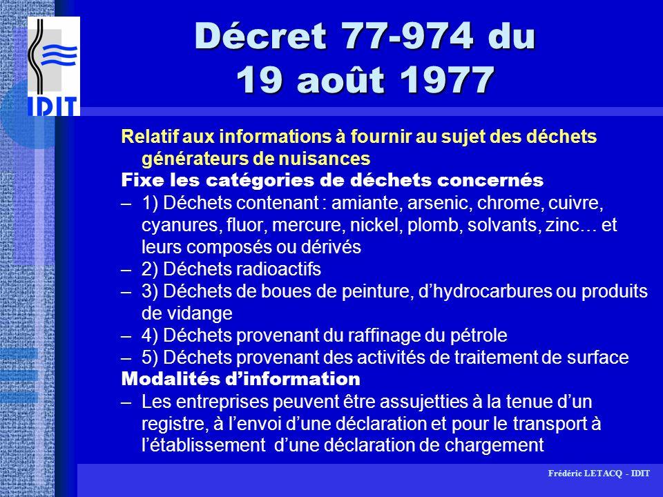 Décret 77-974 du 19 août 1977Relatif aux informations à fournir au sujet des déchets générateurs de nuisances.