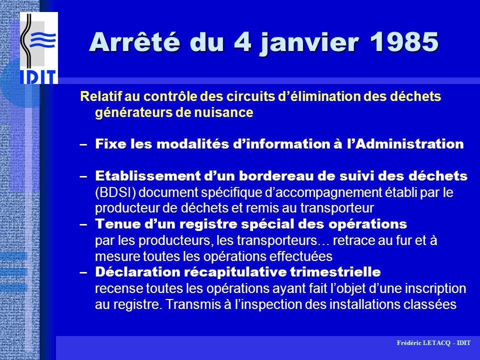 Arrêté du 4 janvier 1985Relatif au contrôle des circuits d'élimination des déchets générateurs de nuisance.